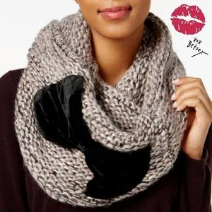 Betsey Johnson Velvet-Bow Knit Infinity Scarf
